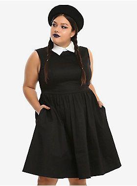 Black & White Collar Sleeveless Dress Plus Size in 2019   2018 Goth ...