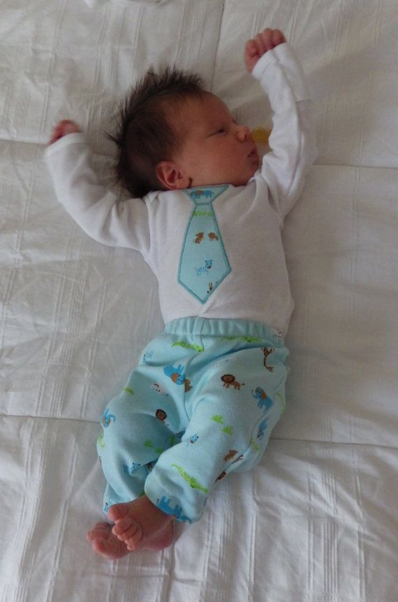 Baby Boy Onesie Tie Outlined W Embroidery Matching Pants