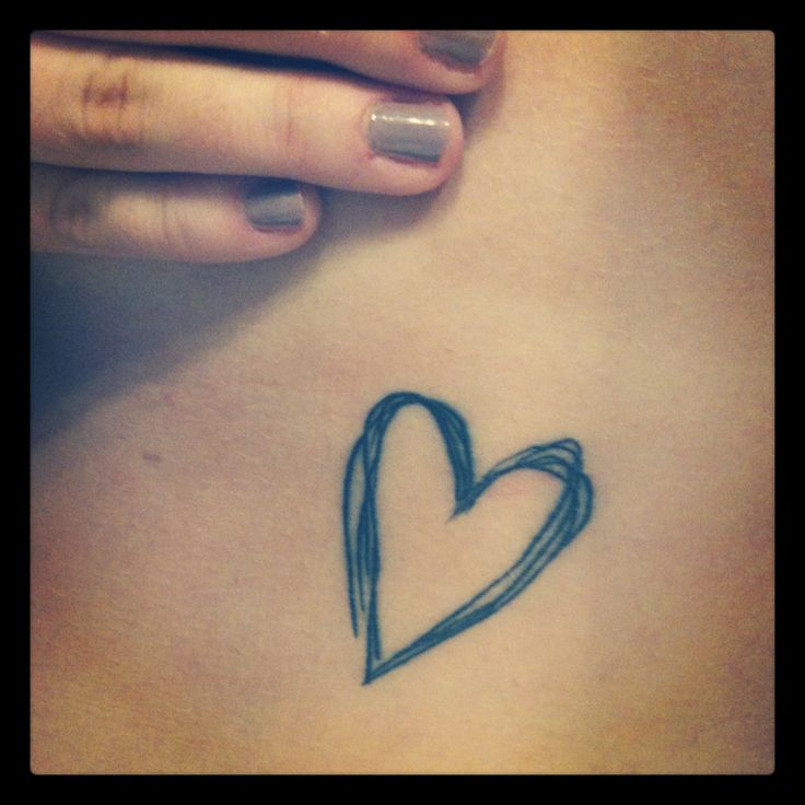 Heart doodle outline on the ribcage, side of breast