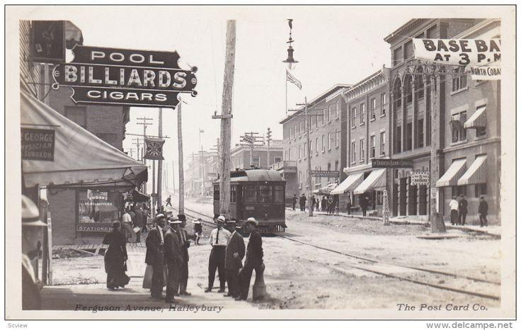 RP: Ferguson avenue , HAILEYBURY , Ontario , Canada , 00-10s : Trolly Car , Pool-Billards hall