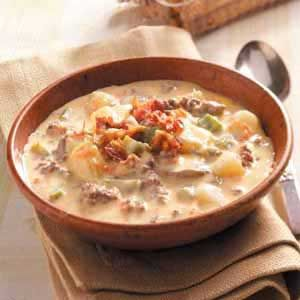 Cheeseburger Soup. This is the BEST soup recipe. You can't stop at one bowl. Great Super Bowl dish. I add more mushrooms and lighten it using 1/2 light velveeta for creamy texture and light or 2% shredded Colby jack or cheddar jack. Good with other veggies tossed in, like peas. Garnish with crumbled bacon, fresh diced tomato and sliced green onions. Enjoy!