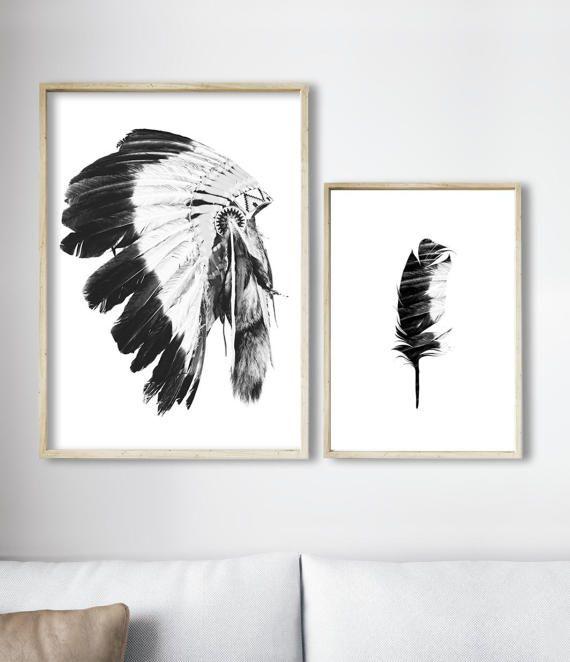 Tribal Art, Indian Headddress Print, Tribal Decor, Boho Home Decor by Little Ink Empire on Etsy