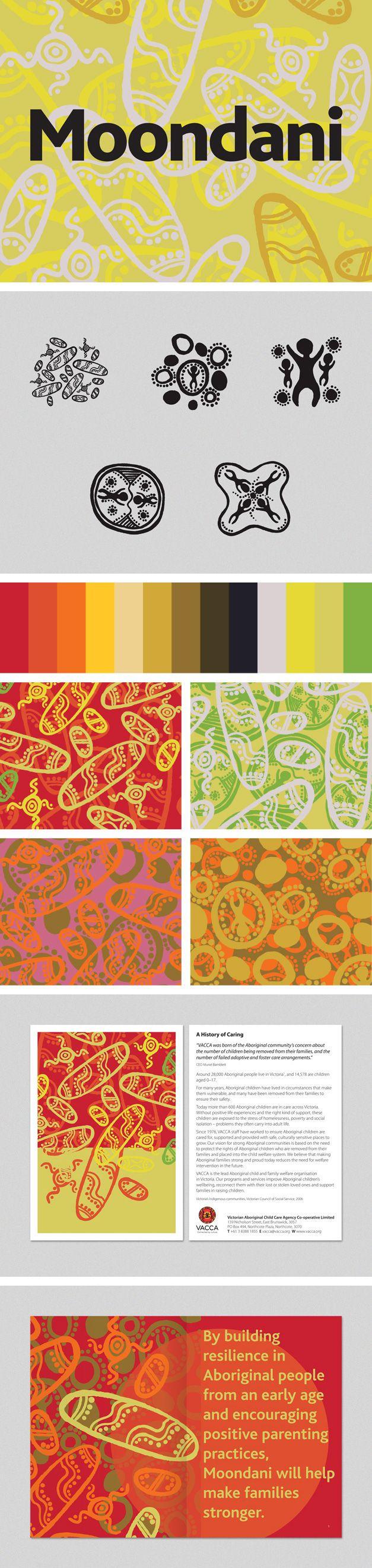 Moondani Cultural Centre branding for the Victorian Aboriginal Child Care Agency www.fenton.com.au #communication #PR #branding #graphicdesign