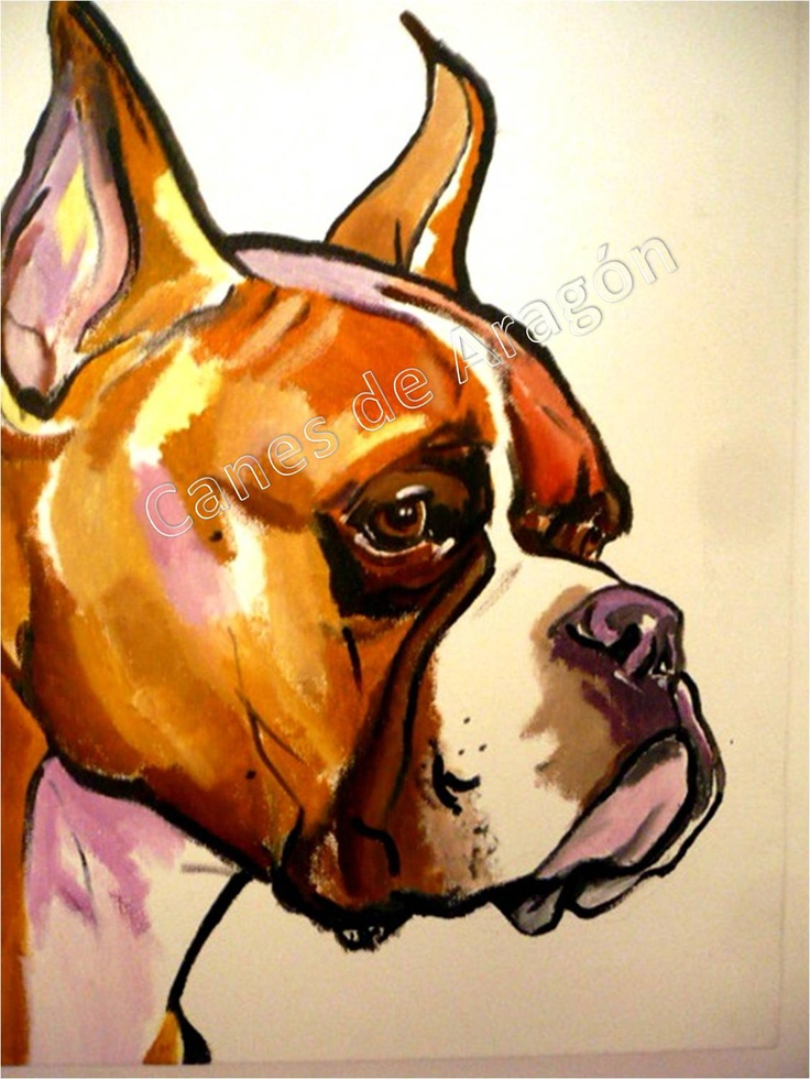 Retrato Boxer (Pop Art). Autor: Alexander Restrepo González. Medellín-Colombia. Pintura de mascotas por encargo.