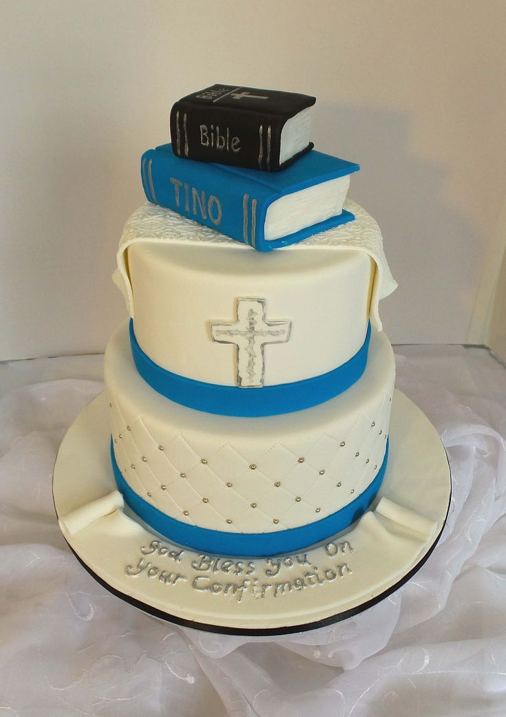 Two Tier Confirmation Cake With Fondant Bible Toppers In