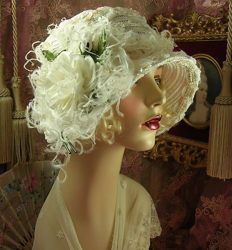 1920's Vintage Style Off White Bridal Beaded Sequined Feather Cloche Flapper Hat | eBay