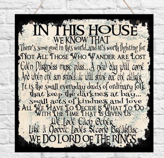 Personalisierte Familie Regeln In diesem Haus Plaque-Geek-Herr der Ringe Hobbit…