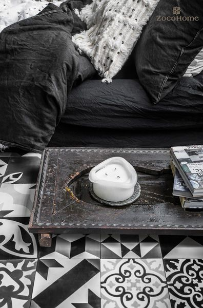 Patchwork, black-grey-white, Moroccan