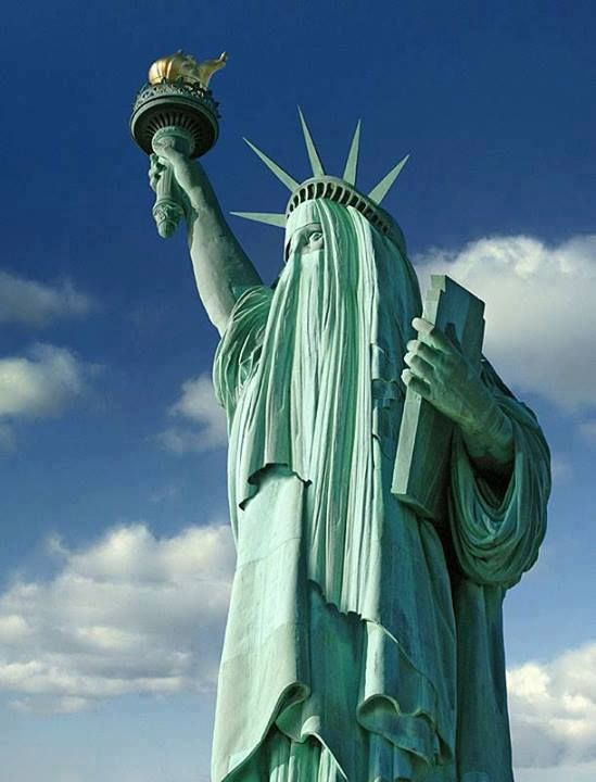Image result for lady liberty in muslim veil