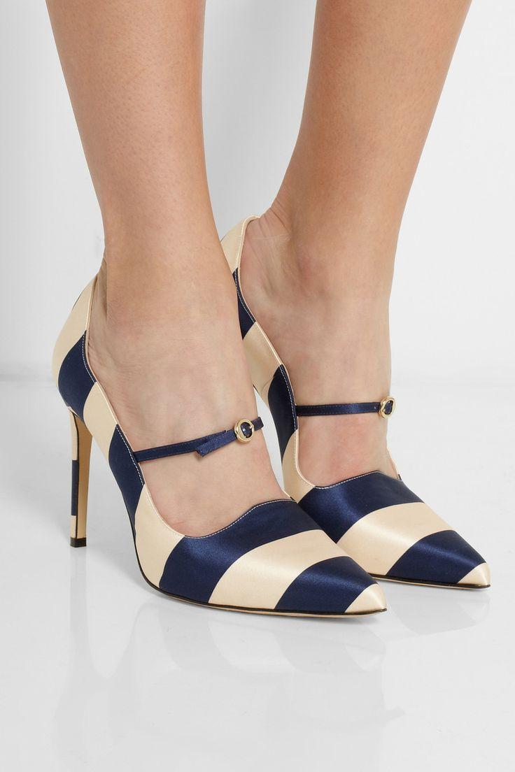 OMG    Bionda Castana|Renee striped satin pumps|NET-A-PORTER.COM