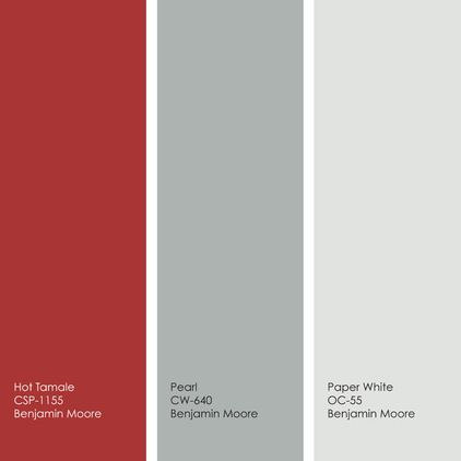 For a similar color palette, try Hot Tamale, Pearl and Paper White from Benjamin Moore.