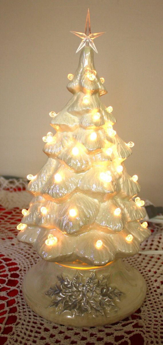 13.5 White Pearlized Ceramic Christmas Tree with by HHouseFired