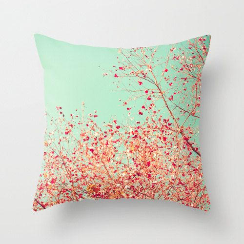 SALE Pillow Cover Coral Pillow Turquoise Pillow Pink by Andrekart,