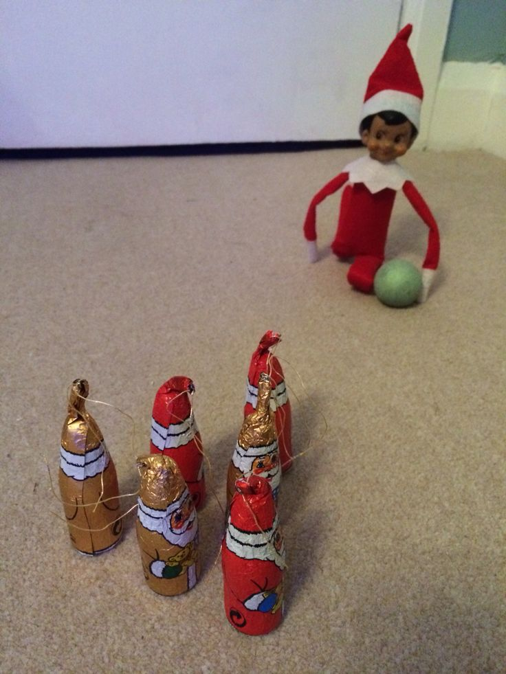 Claude had a festive game of chocolate-Santa bowling last night