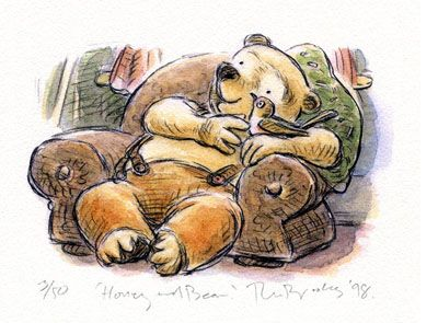'Honey and Bear' signed limited edition print by Ron Brooks, from his picture book 'The Honey and Bear Stories'. Available from Books Illustrated. http://www.booksillustrated.com.au/bi_prints_indiv.php?id=41&image_id=185