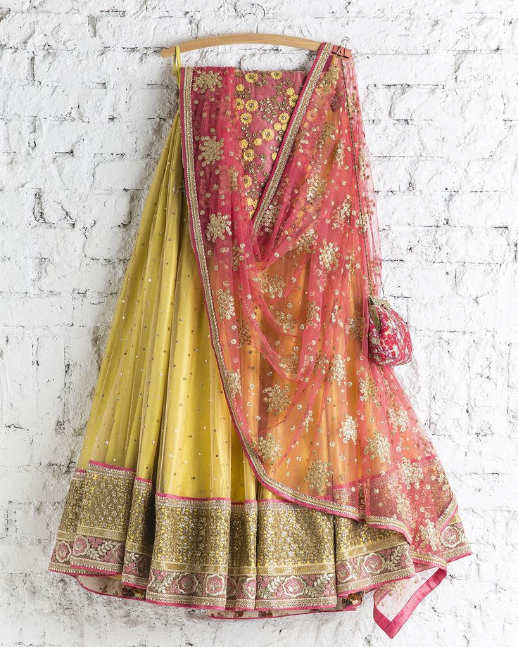 SwatiManish : Summer Yellow Lehenga With Coral Pink Dupatta