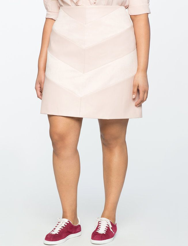 Faux Leather Chevron Skirt from eloquii.com