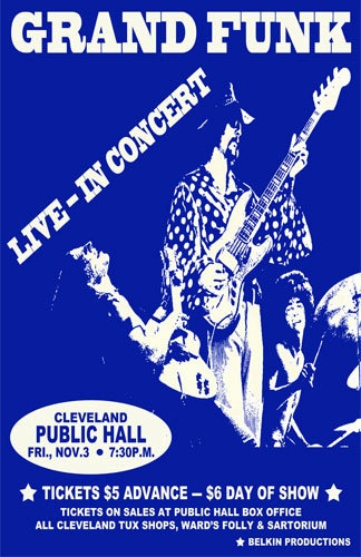 Grand Funk 1972 Cleveland Concert Poster