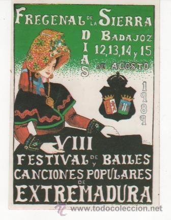 preciosa pegatina viii festival bailes y canciones populares de extremadura. fregenal de la sierra