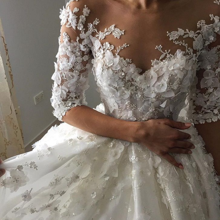 3D floral applique ball gown wedding dress with three length sleeves #weddingdress #3dfloralapplique #weddinggowns