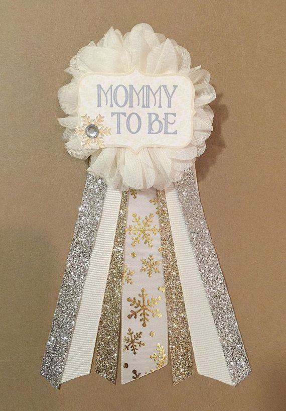 Gold Snowflake Baby Shower corsage pin Baby Its Cold by afalasca