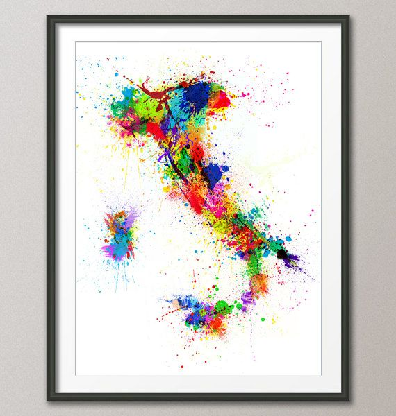 Paint+Splashes+Map+of+Italy+Map+Art+Print+18x24+inch+by+artPause,+£14.99