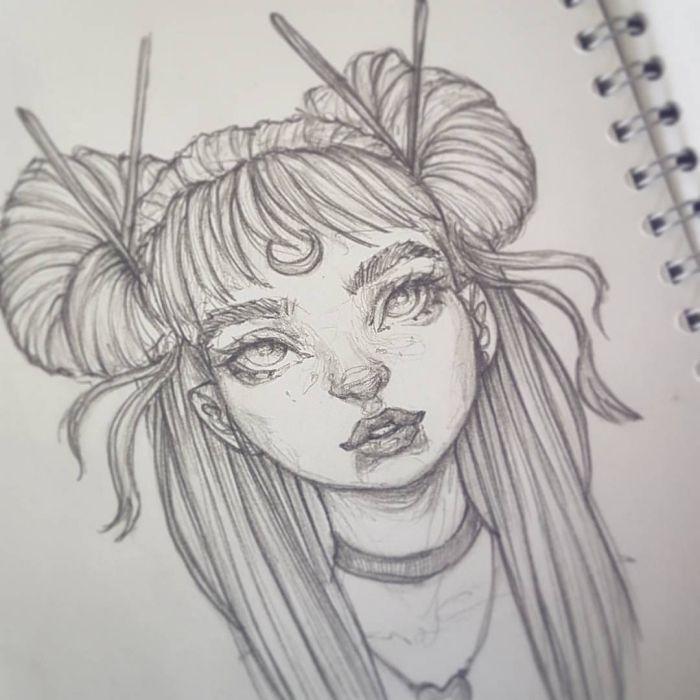 1001 Ideen Und Inspirationen Fur Schone Bilder Zum Nachmalen Gesichtsskizze Bleistiftzeichnung Zeichnung