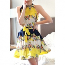 $11.25 Women's Ployester Dress With Floral Print Off-The-Shoulder Lacing Ruffle Design: Floral Prints, Beaches Dresses, Floral Chiffon, Dresses Yellow, Bohemian Floral, Dresses Beaches, Sun Dresses, Chiffon Dresses, Floral Dresses