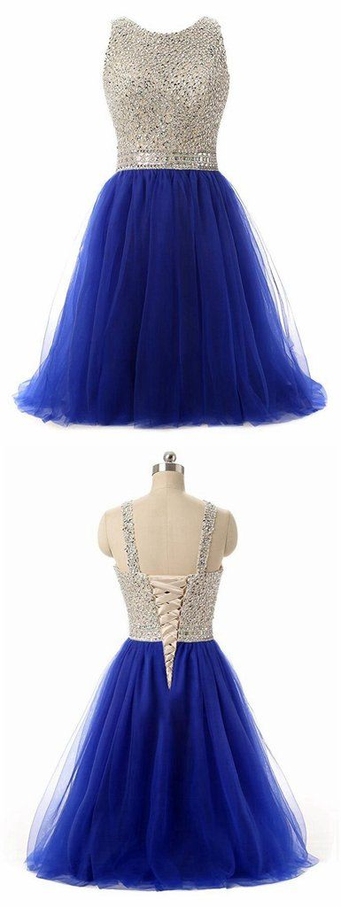 Royal Blue Beaded Top Homecoming Dress, Back To School Dresses ,Short – bbpromdress