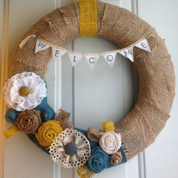 Spring Burlap Wreath Welcome Banner with