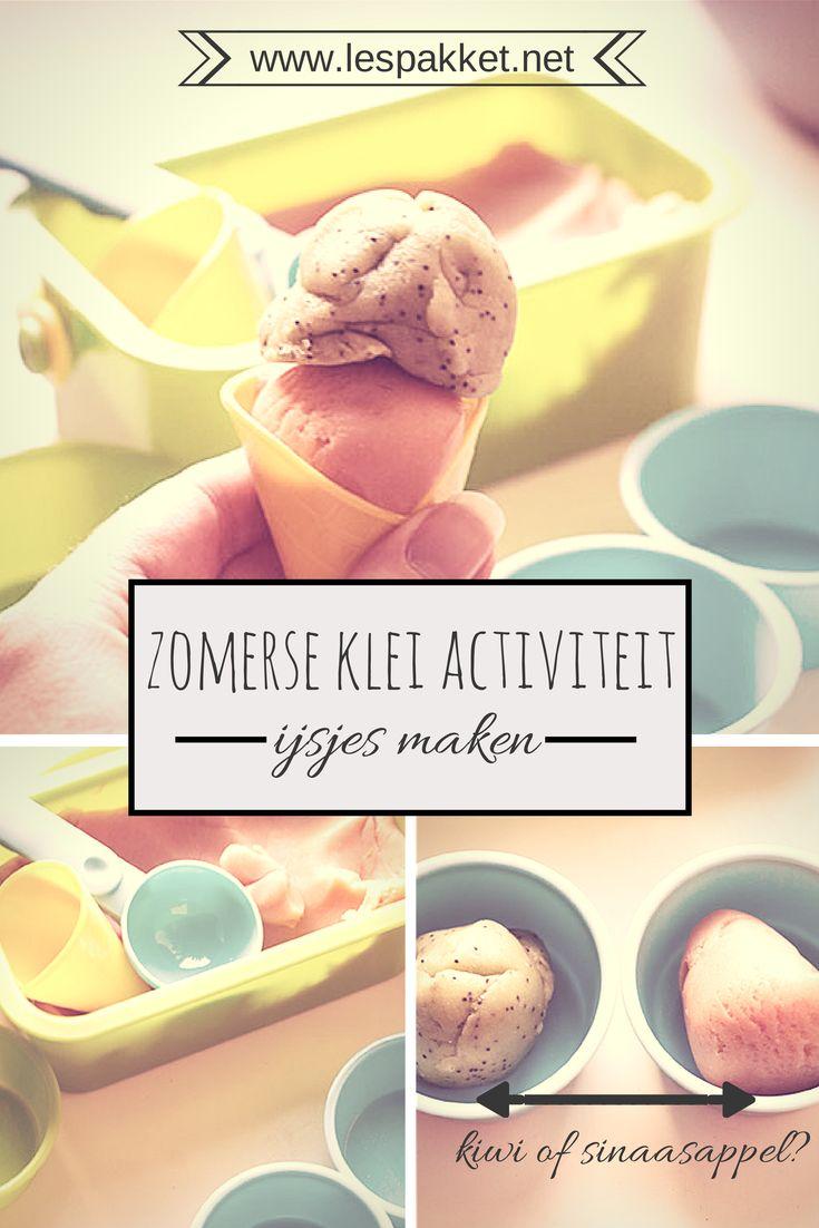 Zelf klei maken: ijsjes van klei - jufBianca.nl - thema: zomer - plastic hoorntjes