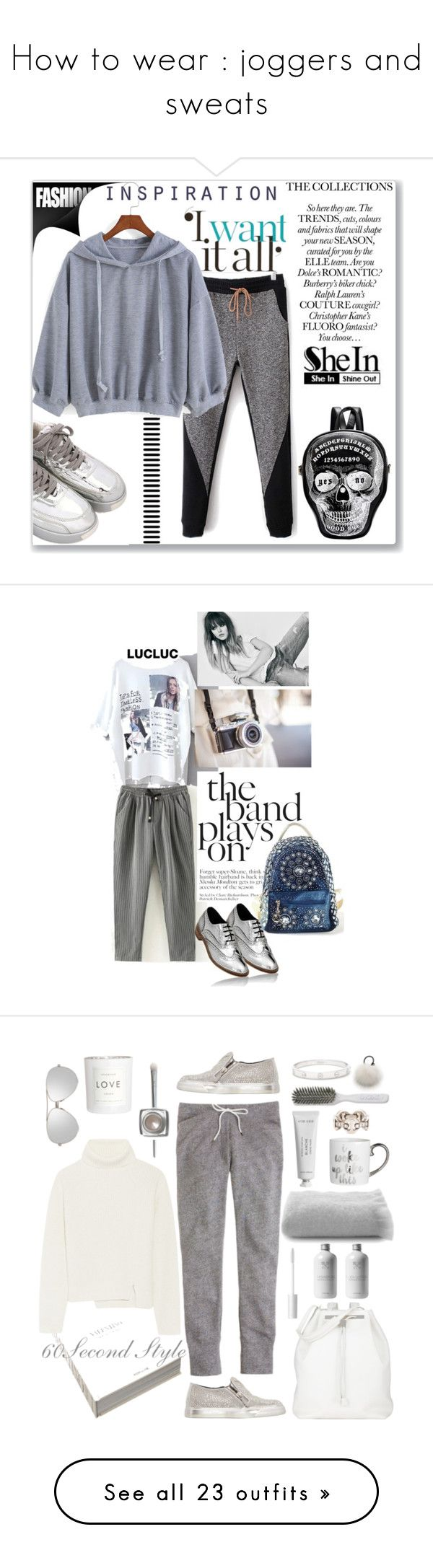 """""""How to wear : joggers and sweats"""" by maddophelia ❤ liked on Polyvore featuring Assouline Publishing, J.Crew, The Row, Giuseppe Zanotti, Proenza Schouler, Belle Epoque, Eugenia Kim, Byredo, H&M and Kent"""