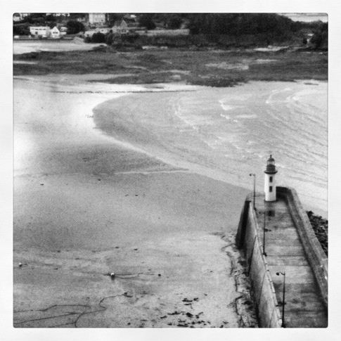 Lighthouse, bay in Brittany,  black and white
