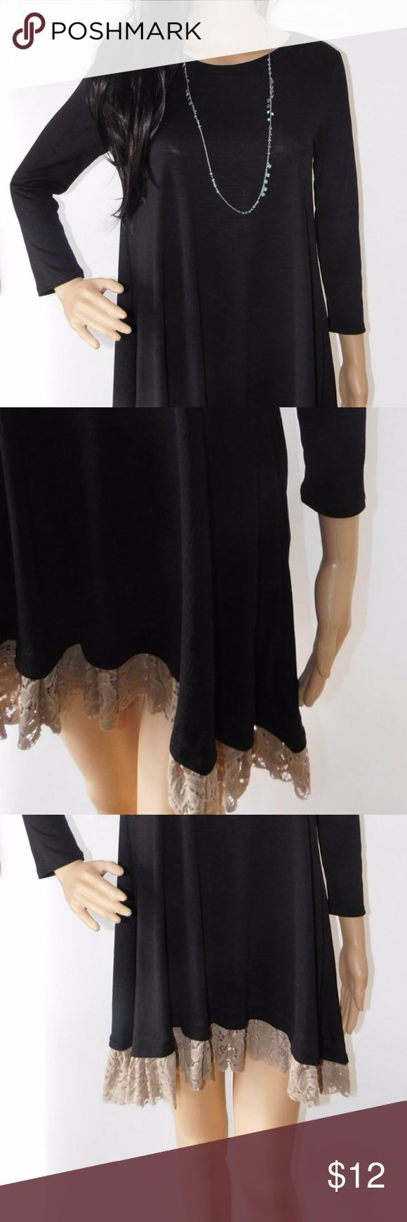 "Black Tunic Dress with Brown Lace Trim - Small 92% Polyester, 8% Spandex  Black tunic dress with brown lace trim. Necklace is not included. Mannequin is 6 ft. tall. Depending on how tall you are will determine the length. Would look great with a pair of leggings!  Size Small (1 available) Bust: 32"" Dresses Mini"