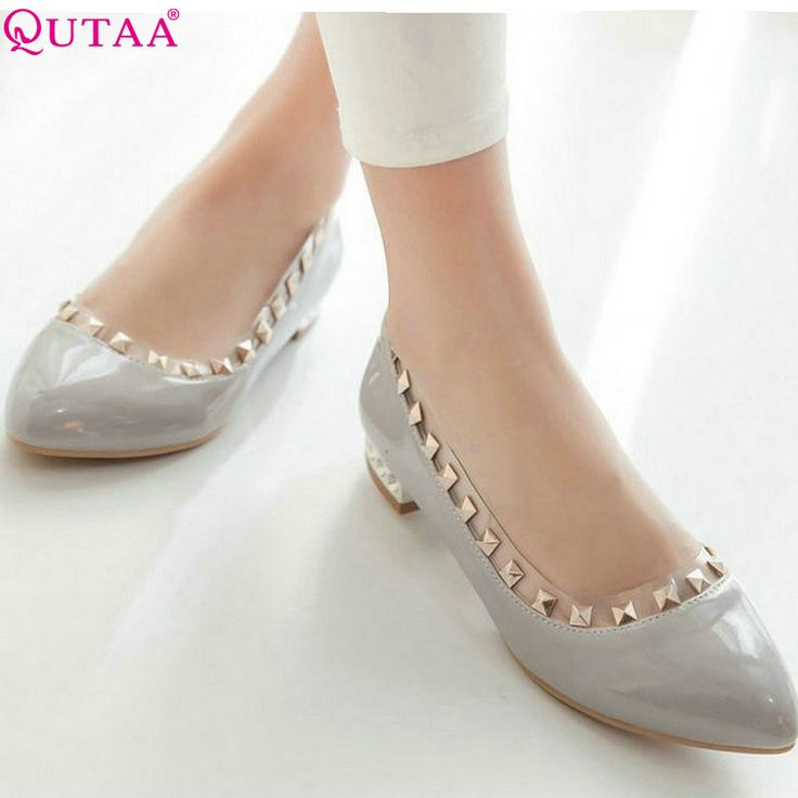 QUTAA Grey Ladies Shoes Square Low Heel PU Leather Red Rivet Round Toe Solid Woman Party Wedding Shoes Size 34-43