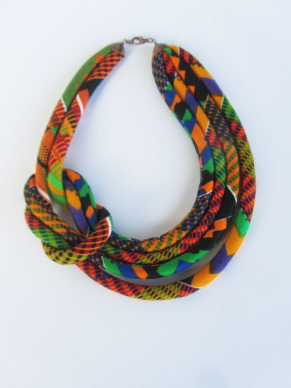 Bib Necklace, Kente fabric necklace. Gift for her, orange, mustard yellow ,brown | Pinterest | Bibs, Fabric necklace and Fabrics