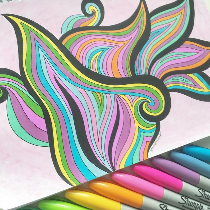 """Mental Images Coloring Books (@paivivesala_art) on Instagram: """"I just love these joyful colors of revived Sharpies!  Coloring book: Mental Images vol 1 (Amazon)"""""""