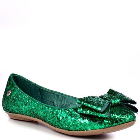21b80987e503 Green glitter flats with bow.