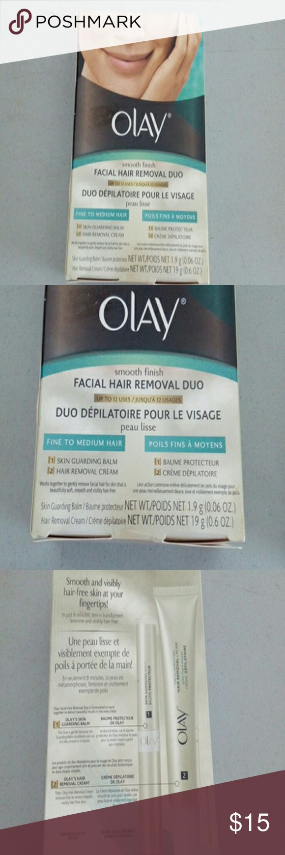 Olay Facial Hair Removal Duo 0.06 oz Fine to Med Skin balm & hair removal cream work together to gently facial hair for skin that is beautifully soft smooth and hair free Olay Other