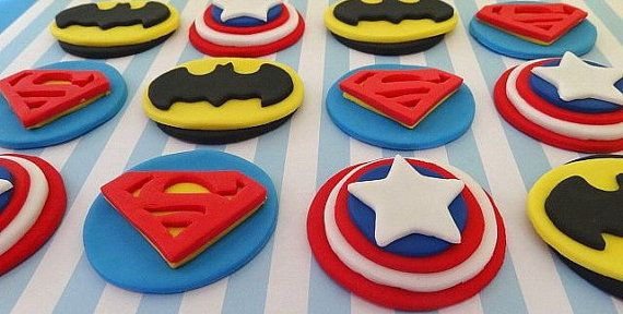 "12 Fondant Edible Cupcake/cookie toppers - ""Super hero"" inspired Theme 1."
