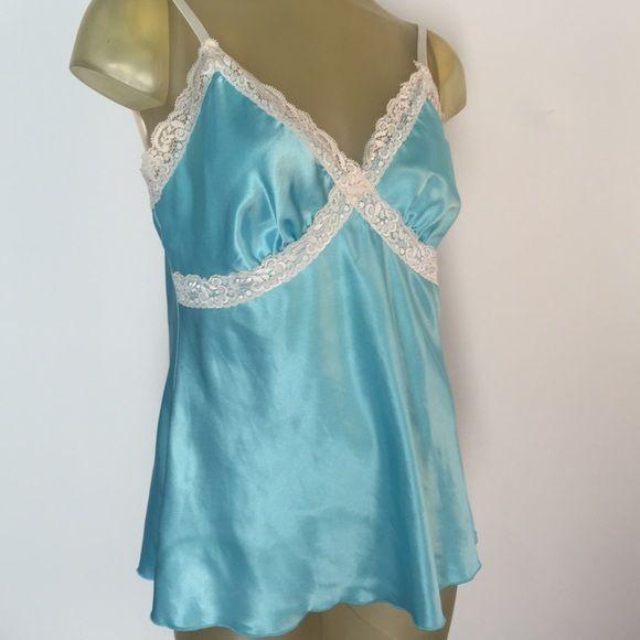 Blue Satin Lingerie cami Pretty candy-blue satin lingerie with white lace trim. Adjustable straps. Jkla Intimates & Sleepwear