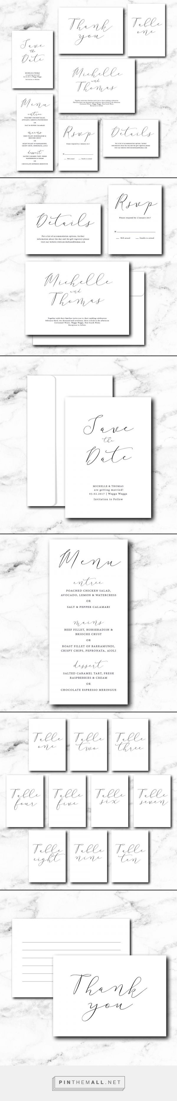 A Classic White Calligraphy suite, perfect for the bride looking for classic and traditional, romantic wedding invitations.