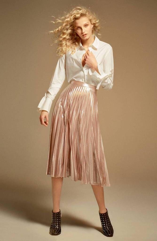 d8b91359463 Faldas midi plisadas: moda para todo tipo de cuerpos | faldas | Pinterest |  Plisado, Moda y Falda midi plisada