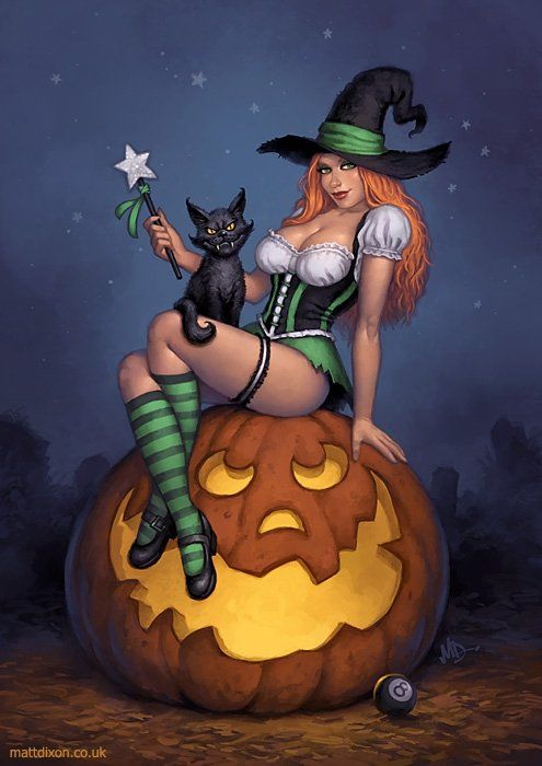 Halloween Horror Art from Matt Dixon: Halloween Witch, Pumpkin, Art, Witches, Sexy Witch, Pinup, Pin Ups, Happy Halloween