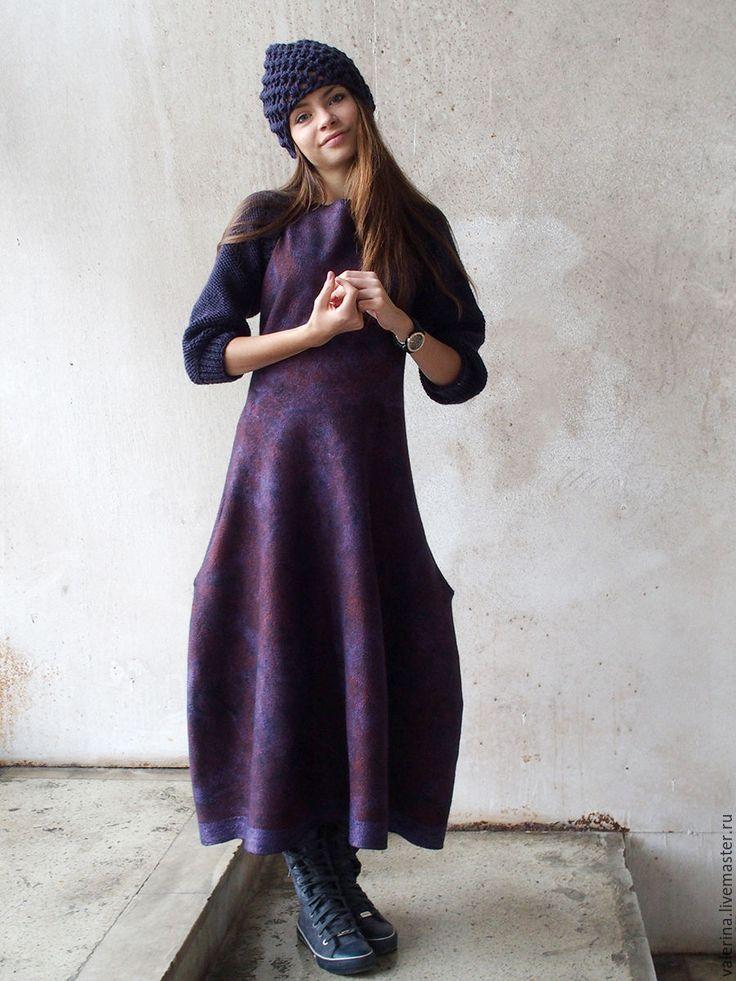 """Купить Платье-сарафан валяное """"СЛИВОВЫЙ ДЖЕМ"""" - тёмно-фиолетовый, абстрактный, валяное платье"""