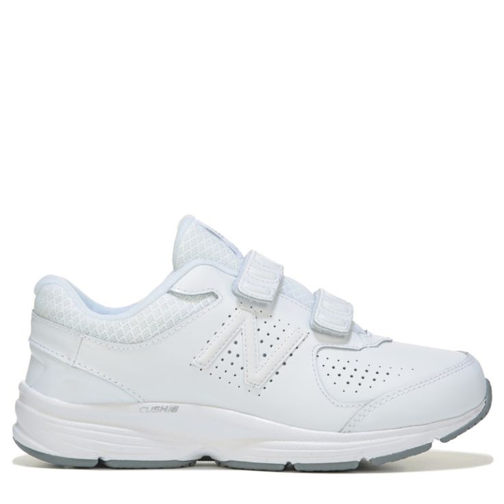 New Balance Women's 411 V2 Double Strap Cush NB Medium/Wide Walking Shoes (White Leather) - 10.0 D