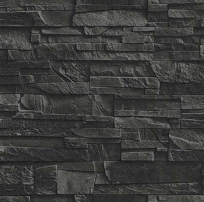 """Carta da Parati in Tessuto Non """" Muro di Pietra Ardesia"""
