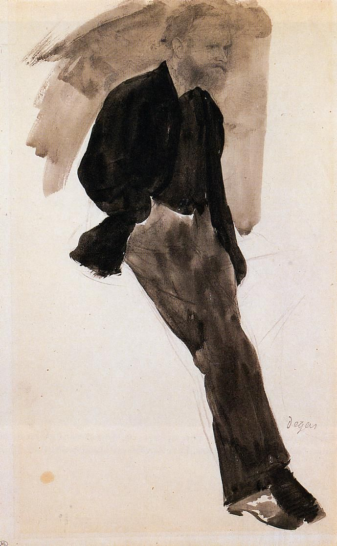 kundst:putheowl:Edgar Degas (Fr. 1834-1917): Drawing of Edouard Manet standing (1866-68)Musée d'Orsay