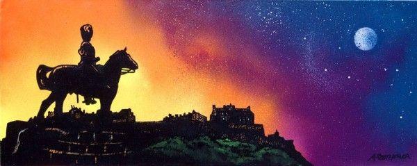 - Royal  Scots Greys Statue and Edinburgh Castle...