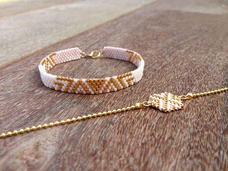 Bracelets ALPHA et HEXAGONA rose et or à retrouver sur la boutique http://artistic-bracelet.com/